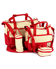 Fab N Funky Mother Bag Set - Red And Cream