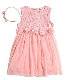Nauti Nati Tulle And Lace Fairy Princess Dress With Hairband - Peach