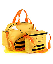 Fab N Funky Mother Bag Set Honeybee Face - Dark Yellow And Black