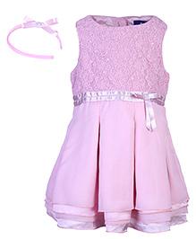 Nauti Nati Sleeveless Georgette Dress With Hair Band - Pink