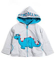 Nauti Nati Hoodie Jacket Dino Applique - Grey