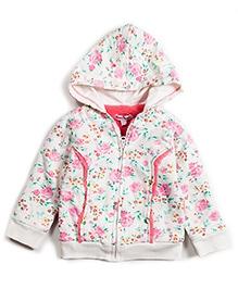 Nauti Nati French Terry Hoodie Jacket Floral Print - Off White