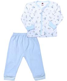 Zero Full Sleeves Front Open Night Suit - Sky Blue