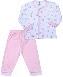 Zero Full Sleeves Front Open Night Suit - Pink