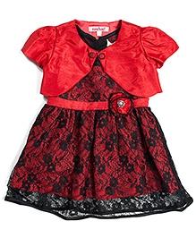 Nauti Nati Spanish Princess Lace Dress With Shrug - Red And Black