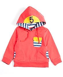 Nauti Nati Full Sleeves Sweatshirt With Hood - Dark Orange