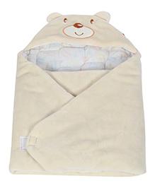 Fab N Funky Sleeping Bag Blanket Cream - Bear Embroidery
