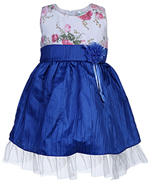 Babyhug Sleeveless Frock With Net Detailing - Floral Applique