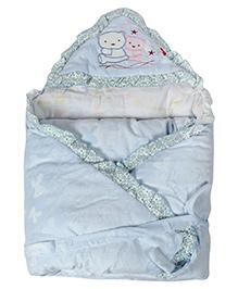 Fab N Funky Sleeping Bag Blanket Blue - Bear Embroidery