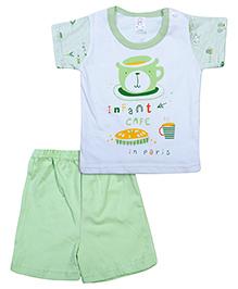 Pink Rabbit Half Sleeves T-Shirt And Shorts Set - Infant Print