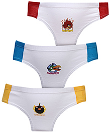 Angry Birds Print Briefs White Set of 3 - Red Blue And Yellow