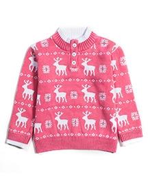 Nauti Nati Full Sleeves Sweater Reindeer Print - Pink And White