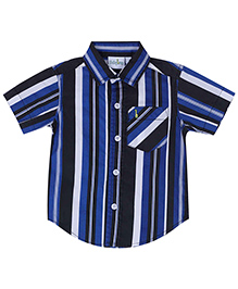 Babyhug Half Sleeves Shirt - Blue And Black