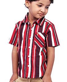 Babyhug Half Sleeves Shirt - Red And Maroon