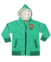 Buzzy Full Sleeves Hooded Jacket Green - Hearts Print