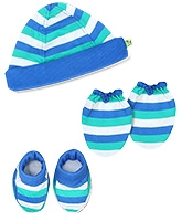 Buzzy Hat Socks And Mittens Set Blue - Stripes Print