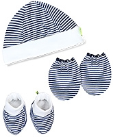 Buzzy Hat Socks And Mittens Set Navy - Stripes Print