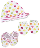 Buzzy Hat Socks And Mittens Set - White