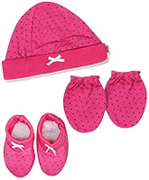 Buzzy Hat Socks And Mittens Set - Dark Pink