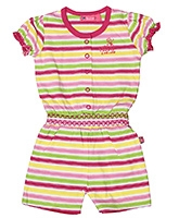Buzzy Short Sleeves Jumpsuit - Smoking Pattern At Waist