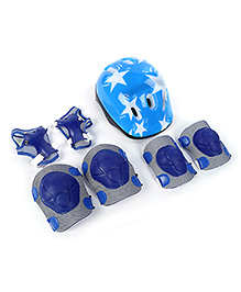 Fab N Funky Helmet With Knee Pad Set Blue - Star Print