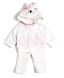Nauti Nati Hooded T-Shirt And Leggings Night Suit - Bow Applique