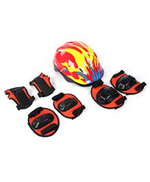 Fab N Funky Helmet With Knee Pad Set Red - Fire Print