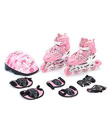 Fab N Funky Adjustable Skate Set Floral Design - Pink