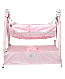 R for Rabbit Jingle Bell One Hand Folding Cradle With Hammock - Pink