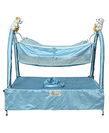 R for Rabbit Jingle Bell One Hand Folding Cradle With Hammock - Blue