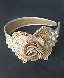 ATUN  Hairband - Beige Rose Applique With Pearl Flower