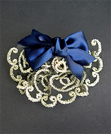 ATUN Alligator Hair Clip - Golden Lace With Navy Blue Ribbon Bow