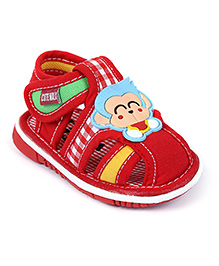 Cute Walk Baby Sandal Velcro Closure With Music Red - Monkey Face Patch