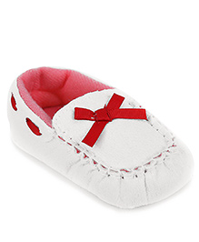 Gini & Jony Loafer Style Booties Bow Applique - White And Red