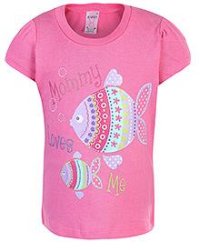 Pink Rabbit Half Sleeves Top Pink - Fish Print