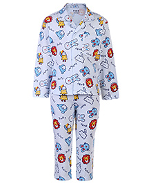 Fido Full Sleeves Night Suit Light Blue - Multi Print