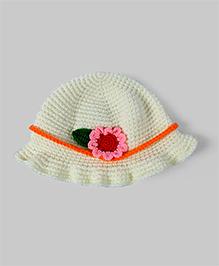 Lace White Floral Crochet Knit Hat