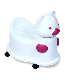 Fab N Funky Baby Potty Seat With Wheels Pink And White- Panda Face