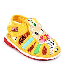 Cute Walk Baby Sandal Velcro Closure Yellow - Bear Face Patch
