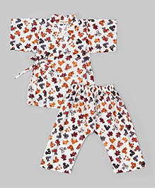 White Bear Printed Kimono Style Night Suit