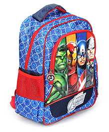 Avengers Group School Bag Art Faces Blue - 14 Inches