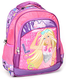 Barbie Backpack Printed Pink And Purple - 13 Inches