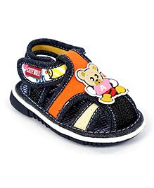 Cute Walk Baby Sandal Velcro Closure Navy Blue - Alphabet A Applique - Size 14