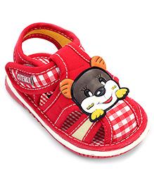 Cute Walk Baby Sandal Velcro Closure Red - Cat Face Patch