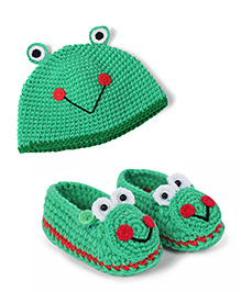 Green & Red Frog Face Beanie with Booties