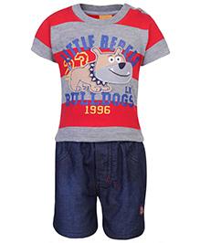 Little Kangaroos Half Sleeves T-Shirt And Shorts - Bull Dog Print