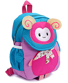 Fab N Funky Backpack Blue And Pink - Bug Face - 22 X 10 X 30 Cm