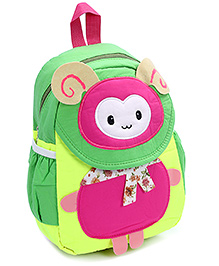 Fab N Funky Backpack Green And Pink - Bug Face - 22 X 10 X 30 Cm