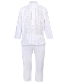 Babyhug Kurta And Pajama Set White - Chikan Embroidery