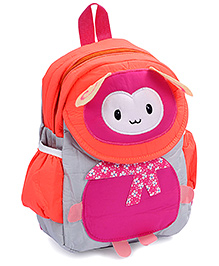 Fab N Funky Backpack Pink And Orange - Bug Face - 22 X 10 X 30 Cm